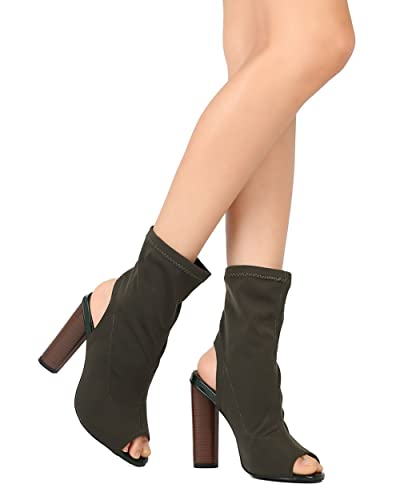 3ec79f52ba3 CAPE ROBBIN Women Fabric Peep Toe Open Back Stacked Heel Bootie GJ29 -  Olive (Size