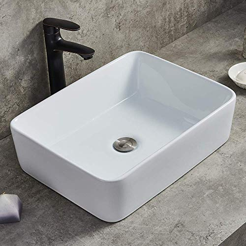 Ufaucet Modern Porcelain Above Counter White Ceramic Bathroom Vessel Sink,Art Basin Wash Basin for Lavatory Vanity Cabinet