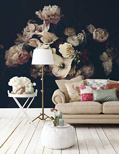 Plant Floral Wallpaper - Murwall Dark Floral Wallpaper Peony Blossom Wall Mural Dutch Flower Wall Print Living Room Bedroom Entryway