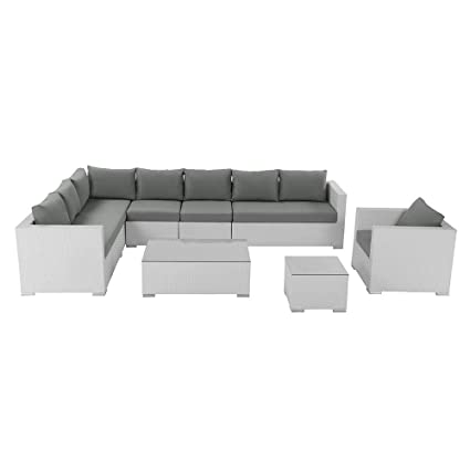 Amazon.com: Beliani exterior salón muebles con color blanco ...