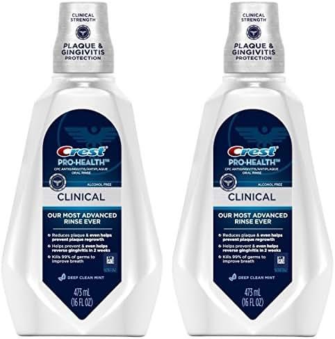 Crest Pro-Health Clinical CPC Antigingivitis/Antiplaque Oral Rinse Deep Clean Mint, Clean Mint 473 ml (Pack of 2)