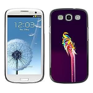 TopCaseStore / la caja del caucho duro de la cubierta de protección de la piel - Pink Purple Vibrant Colors Abstract - Samsung Galaxy S3 I9300