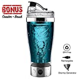 Protein Shaker Bottle,Portable 16oz Vortex Mixer,USB Rechargeable Mini Shaker,Self-Stirring Mug,BPA-Free Electric Hurricane Shaker Cup for Various Powder Shake with Cup Mat and Brush (Silver)