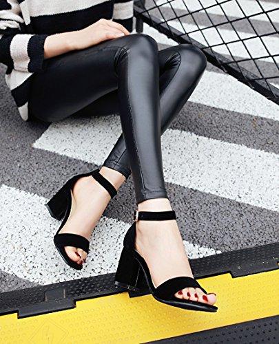 Mariage Saison Fuit Big Chaussures Heel Sandals High SHOESHAOGE Talon Chaussures Red De unie Couleur Qui Grossières Avec wAgqBgHz6