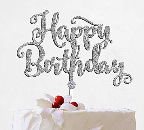 Happy Birthday Birthday Theme Cake Topper Customize Cake Topper Silver Glitter Cake Topper with Acrylic Stake Cake Decoration