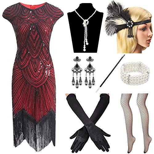 Women 1920s Vintage Flapper Fringe Beaded Great Gatsby Party -