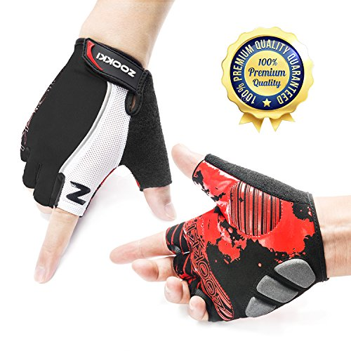 ZOOKKI Cycling Gloves Mountain Bike Gloves Road Racing Bicycle Gloves Light Silicone Gel Pad Riding Gloves Half Finger Biking Gloves Men/Women Work Gloves ()