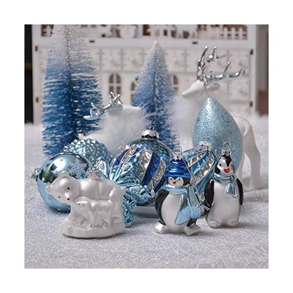 Valery Madelyn Palle di Natale Vetro Addobbi Natalizi Set, 10 Pezzi 8-12cm White And Blue Palline di Natale Decoration for Addobbi Natalizi per Albero 7 spesavip