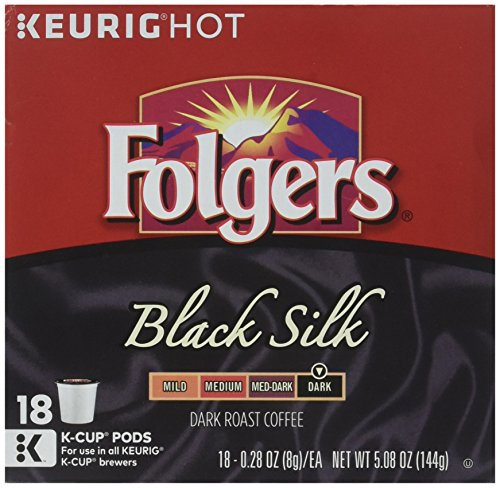 Folgers Black Silk Coffee, Dark Roast, K-Cup Pods for Keurig K-Cup Brewers, 18-Count (Pack of 4) by FOLGERS K CUPS (Image #2)