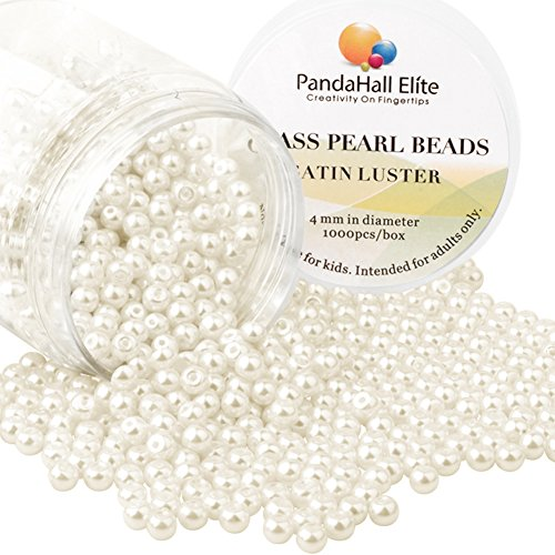 Freshwater Pearls And Glass Bead Necklace - PandaHall Elite 4mm About 1000Pcs Tiny Satin Luster Glass Pearl Round Beads Assortment Lot for Jewelry Making Round Box Kit Anti-flash white