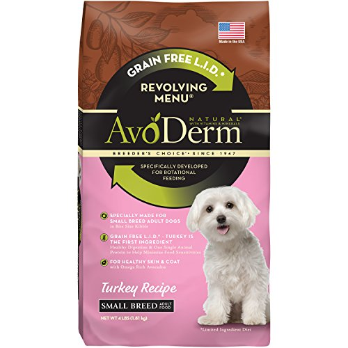 AvoDerm Natural Revolving Menu Small Breed Turkey Recipe Dry Dog Food, 4-Pound