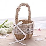 AllHeartDesires Rustic Wedding Hessian Burlap Lace Flower Girl Basket Party Favors