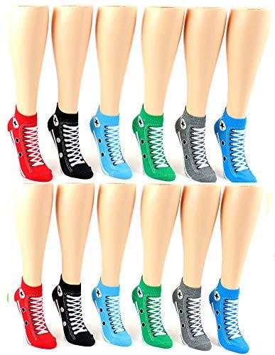 Women's Low Cut Novelty Socks - Sneaker Print - Size 9-11 - 12 Pair Pack