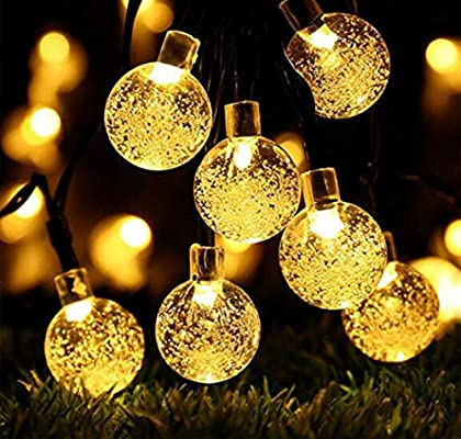 OBTANIM 2-Pack LED Christmas Lights Solar Powered, Warm White String Lights,  Outdoor/Indoor Waterproof 20FT 30 Crystal Balls 8 Modes for Patio, Garden,  ... - Amazon.com : OBTANIM 2-Pack LED Christmas Lights Solar Powered, Warm