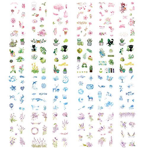 (Kawaii Washi Stickers (Assorted 24 Sheets) Rose Sakura Pink Flower Green Plants Marine Life Ocean Starfish Whale Moon Starry Sky Balloon Lavender Purple Floral DIY Label for Scrapbooking Journaling)