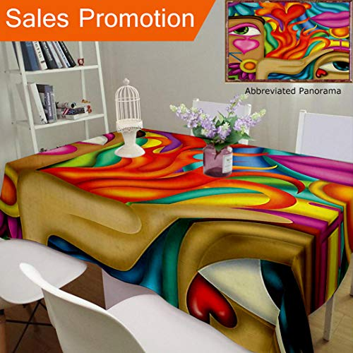 Unique Design Cotton and Linen Blend Tablecloth Abstract Decor Symbolic Love Artistic Painting Design with Hearts Eyes and Lips Image Multi ColCustom Tablecovers for Rectangle Tables, 70 x 52 Inches -