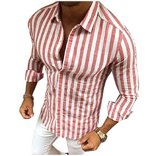 HEFASDM Men ' s Stripe manga comprida Slim Fit Button camisa de negócios tops Red XL