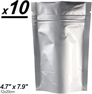 x10 Smell & X-Ray Proof Mylar Bags, Long Term Food Storage, Vacuum Sealable Ziplock Bags (12x20cm) (4.72x7.87in). by MZ Basics