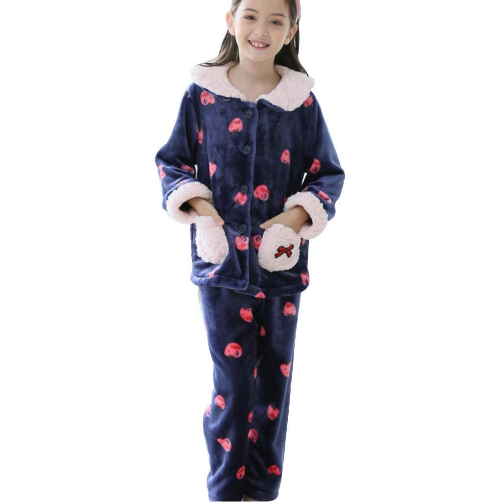 bleu 140cm Hommesg wei shop Ensembles de Pyjama Pyjama Fille Pyjama épais en Flanelle Pyjama Fille Mignon vêteHommests Chauds à la Maison (Couleur   bleu, Taille   165cm)