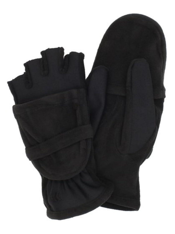 Fingerless gloves isotoner - Lovely Isotoner Stretch Womens Black Fleece Lycra Fingerless Gloves Convertible Mittens