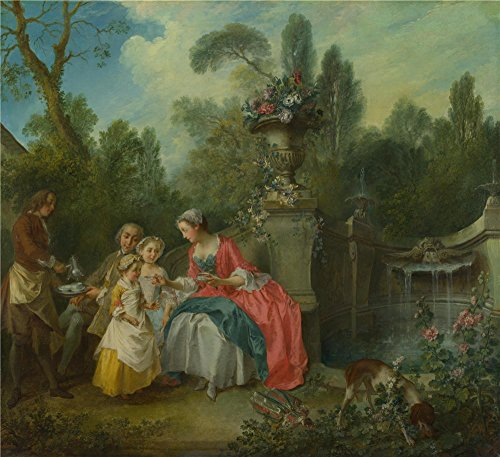 [Oil Painting 'Nicolas Lancret A Lady In A Garden Taking Coffee With Some Children' 12 x 13 inch / 30 x 33 cm , on High Definition HD canvas prints is for Gifts And Bath Room, Foyer And Home Of] (Early Explorer Costume Ideas)