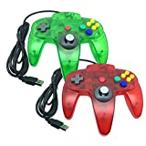 Bowink Classic Retro N64 Bit USB Wired Controller for PC and Mac (Clear Red and Clear Green)