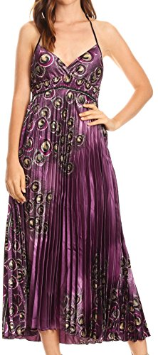 Sakkas CHH14159 - Caterina Strapless V-Neck Padded Empire Waist Satin Maxi Long Dress - Purple - OS