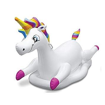 Sucastle Flotador Inflable para Piscina con Forma de Caballo del Arco Iris,para Adultos niños Playa Fiestas de Piscina Juegos Decoraciones de salón terraza ...