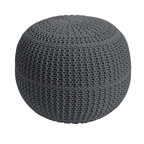 BrylaneHome Bh Studio Hand-Knitted Ottoman Pouf (Charcoal,0) by BrylaneHome