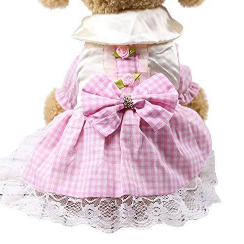 - Smdoxi Summer cat Dog Dress New Trend Party lace Dress Square Bow Stitching Evening Dress
