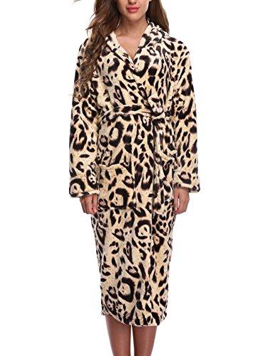 STMALL Womens Fleece velvet Bathrobe