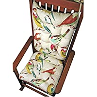 Rocker Cushion Set - Song Bird Multi - Extra-Large Size - Seat Cushion and Back Rest - Reversible, Latex Foam Fill - Made in USA