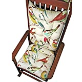 Cheap Rocking Chair Cushions – Song Bird Multi – Seat Cushion and Back Rest – Reversible, Latex Foam Fill – Made in USA – Magenta/Teal/Yellow/Linen (Mutli, Standard)