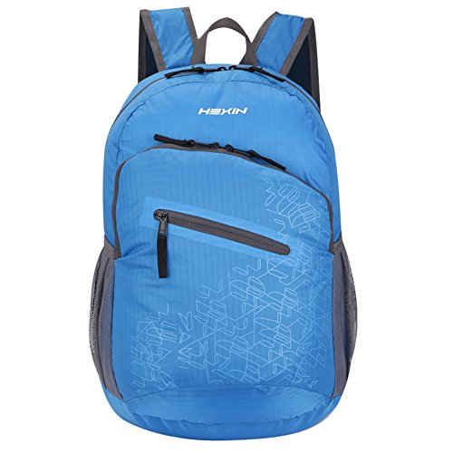 HEXIN Water Resistant Rated 20L/33L Lightweight Foldable Backpack Hiking Daypack Blue