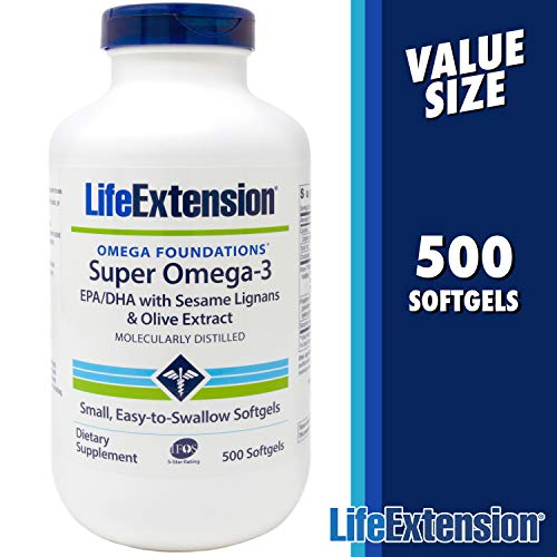 Virgin Olive Omega Oil Extra 3 - Life Extension Super Omega-3 Fish Oil - 500 Softgels - EPA/DHA with Sesame Lignans and Olive Extract