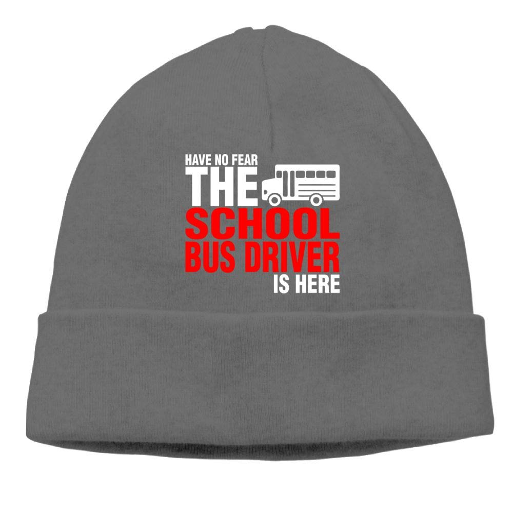 Have No Fear The School Bus Driver is Here Beanies Knit Hat Ski Caps Mens DeepHeather