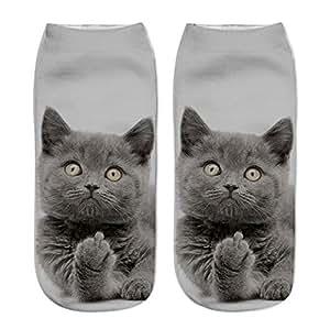 Leng QL Lovely Women Girls 3D Printed Socks Ankle Socks Cats Designs 3D Cute Cartoon Animal Socks