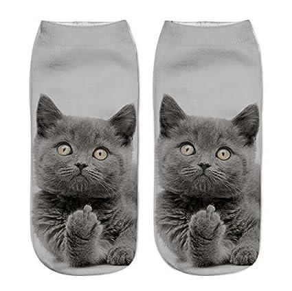 lianji Calcetines Impresos 3D de Muchachas y Mujeres Calcetines del Tobillo de Los Gatos Diseños Calcetines