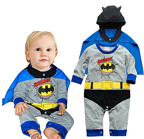 Magictolife Baby Boys Superhero Costume Romper Jumpsuit With Removable Cape Bat 80