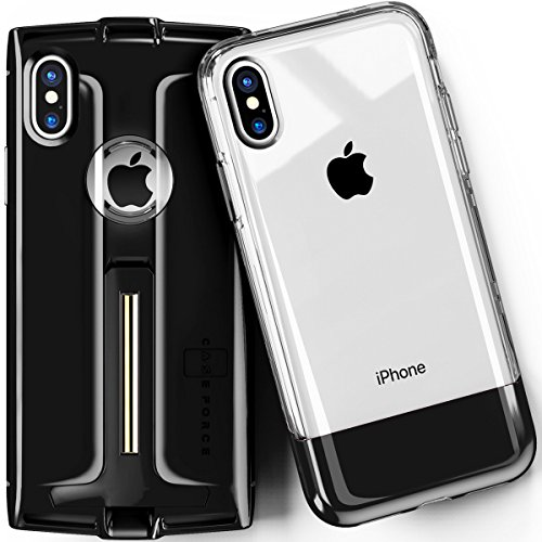 CASE FORCE iPhone X Case Clear Best Cute for Girls Women Men,Kickstand Heavy Duty Military Grade Drop Protection,Wireless Charging Compatible,2 Tempered Glass,iPhone 1st Gen Inspired Case (Black)