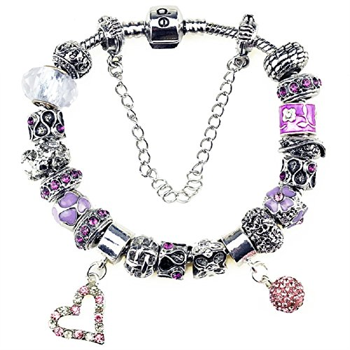 Duchy February Birthstone Charm Bracelet and Charm for Women Glass Bead Silver Plated Snake Chain Pink Heart Ball Amethyst Gift Idear for her 7.9 inch/ 20 - Black Friday Co Tiffany &