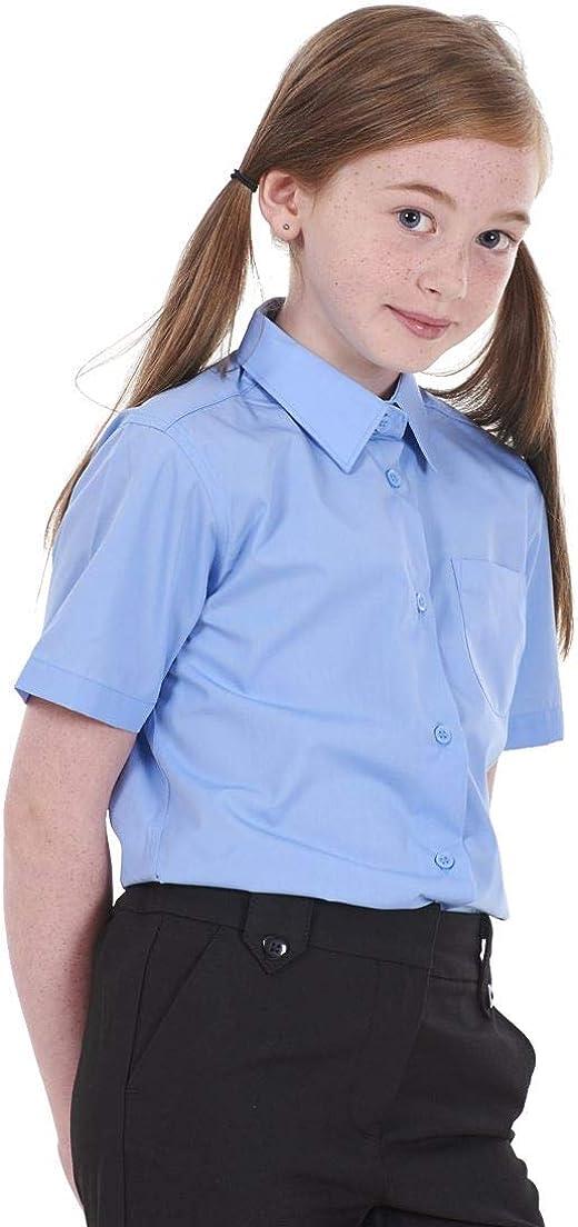 BHS Girls 2 Pack Regular Fit Non Iron Short Sleeve School Shirt
