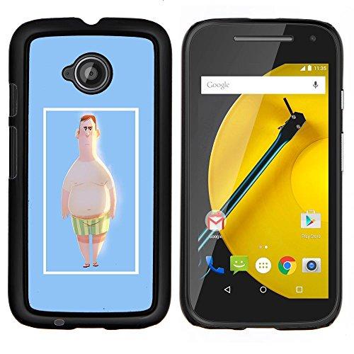 Plastic Case Schutzhülle || Motorola Moto E ( 2nd Generation ) || Man Strandshorts Pale White Big Belly Kunst @XPTECH