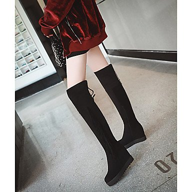 5 Boots Zipper EU36 Women'S Winter RTRY Flocking Comfort 5 For Black Fall Casual Over UK3 Knee Toe Round CN35 US5 Boots Shoes The Dress YOFBFq