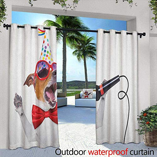 Popstar Party Custom Outdoor Curtain Jack Russel Dog