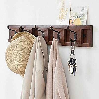 Genenic Removable Hanging Coat Wall Mounted Coat Rack Hooks Brown - New design movable hooks :Adjustable interval spaces between each hooks.Perfect for hanging your coats,keys,leashes,scarves,bags,umbrellas,bathrobes and so on.perfect for saving your room space and make your home tidy and stylish. Stylish and sturdy hanger:The well-made coat rack has 5 dual zinc alloy hooks with 1 square inch of base.Hold up to 22 lbs each hook. Space saving: Light weight and creative design, this wall hook rack is perfect to be used in living room, bedroom, hallway, balcony, kitchen or other suitable place, to keep your home or office neat and organized. - entryway-furniture-decor, entryway-laundry-room, coat-racks - 51Ss779GnLL. SS400  -
