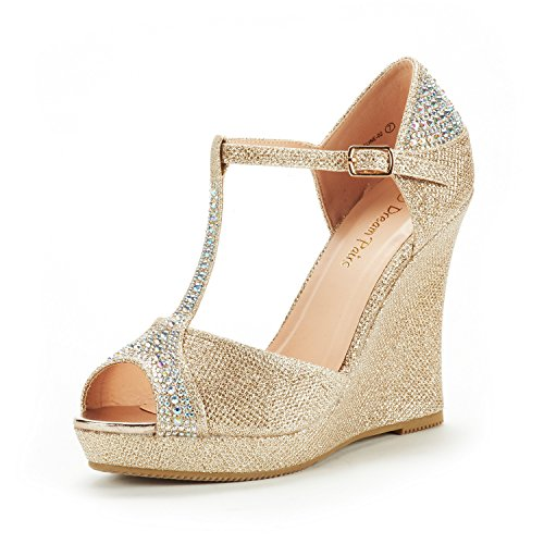 DREAM PAIRS Women's Angeline-02 Gold Glitter Platform Wedge Sandals Peep Toe Wedge Pumps Size 7.5 M US (Peep Toe Wedge Platform Heels)