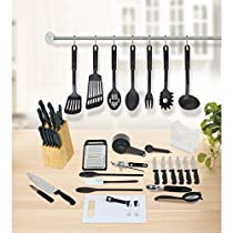 Plastic and Stainless Steel 51-Piece Kitchen Essentials Set, Black