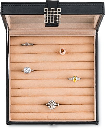 e724e8db0384a Glenor Co Ring Box Organizer - 54 Slot Classic Jewelry Display Case Holder  - Storage Tray with Modern Buckle Closure, Large Mirror - Holds Rings and  ...