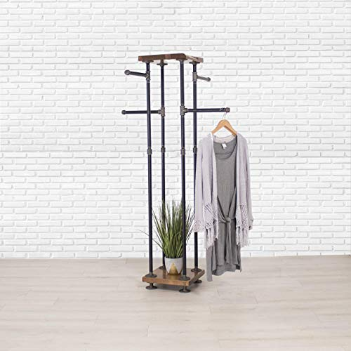 Industrial Pipe and Wood Clothes Rack 4-Way, Garment Rack, Clothing Rack, Closet Organizer, Clothing Storage and Display ()